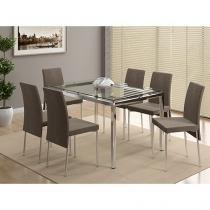 Conjunto de Mesa com 6 Cadeiras - Móveis Carraro Barcelona