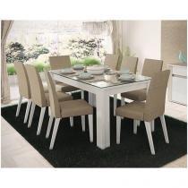 Conjunto de Mesa com 8 Cadeiras Estofadas - Madesa Diamante