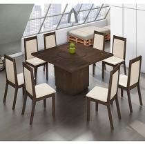 Conjunto de Mesa com 8 Cadeiras Estofadas - Mobisul Canadá