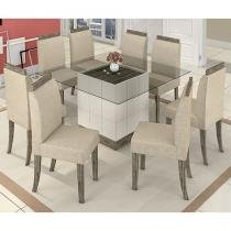 Conjunto de Mesa com 8 Cadeiras Estofadas - Mobisul Holanda