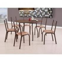 Conjunto de Mesa de Cozinha 6 Cadeiras Sydney I Marrom - Brastubo