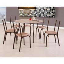 Conjunto de Mesa de Cozinha 6 Cadeiras Sydney II Marrom - Brastubo