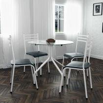 Conjunto de Mesa de Jantar com 4 Cadeiras Moema Branca - Mundo móveis