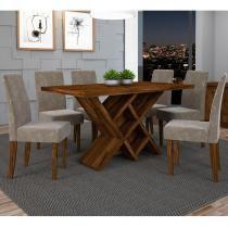 Conjunto de Mesa Duomo com 6 Cadeiras - Rústico Malbec - Dj Móveis