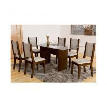 Conjunto de mesa grecia castor 160 com 6 cadeiras isis veludo creme - rufato -