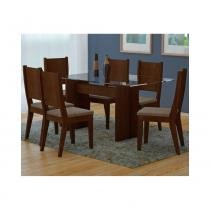 Conjunto de mesa grecia castor 180 com 6 cadeiras bella animalle chocolate - rufato -