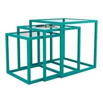 Conjunto de Mesa Lateral Trio Isabela Azul - Mundo móveis