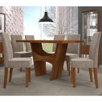 Conjunto de Mesa Luna com 4 cadeiras - Castanho BX - Dj Móveis
