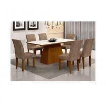 Conjunto de mesa luna imbuia 180 tampo serigrafado branco com 6 cadeiras grecia animalle chocolate - rufato -