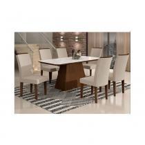 Conjunto de mesa lunara castor 180 tampo serigrafado branco branco com 6 cadeiras lunara castor veludo creme - rufato -