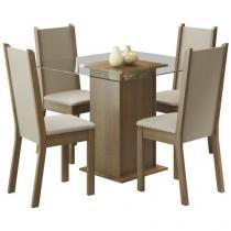 Conjunto de Mesa Madeira com 4 Cadeiras Estofadas  - Madesa Aline