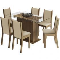 Conjunto de Mesa Madeira com 6 Cadeiras Estofadas - Madesa Aline