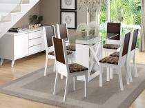 Conjunto de Mesa Madeira com 6 Cadeiras Estofadas - Madesa Moline