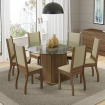 Conjunto de Mesa Madeira com 6 Cadeiras Estofadas - Madesa Provença