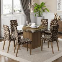 Conjunto de Mesa Madeira com 6 Cadeiras Estofadas - Madesa Topázio