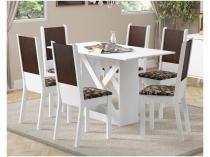 Conjunto de Mesa Madeira com 6 Cadeiras Madesa  - Moline