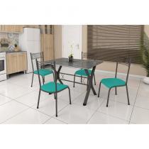Conjunto de Mesa Miame 110 cm com 4 Cadeiras Buenos Aires Preto e Verde - Fabone