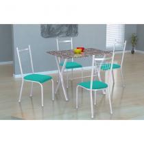Conjunto de Mesa Miame 110 cm com 4 Cadeiras Lisboa Branco e Verde - Fabone