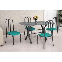 Conjunto de Mesa Miame 110 cm com 4 Cadeiras Madri Preto e Verde - Fabone