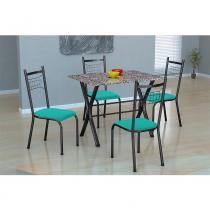 Conjunto de Mesa Miami com 4 cadeira Lisboa Fabone - Preto Prata com Verde -