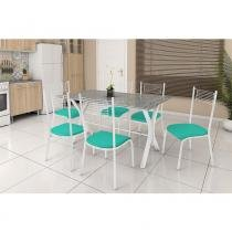 Conjunto de Mesa Miami com 6 cadeiras Bueno Aires Fabone - Branco Prata com Verde -