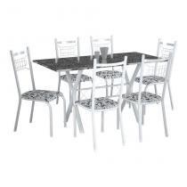 Conjunto de Mesa Miami Com 6 Cadeiras Lisboa Branco Liso E Branco Floral - Fabone