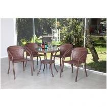 Conjunto de Mesa para Jardim/Área Externa Alumínio - com 4 Cadeiras Alegro Móveis Beatriz