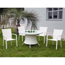 Conjunto de Mesa para Jardim/Área Externa Alumínio - com 4 Cadeiras Alegro Móveis CJMB101403