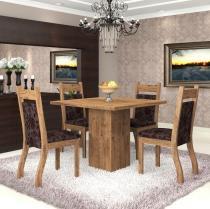 Conjunto De Mesa Para Sala De Jantar Aires Com 4 Cadeiras Jady Ebano/Cereja - At House