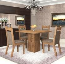 Conjunto De Mesa Para Sala De Jantar Aires Com 4 Cadeiras Jady Ebano/Dakota - At house