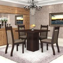 Conjunto De Mesa Para Sala De Jantar Aires Com 4 Cadeiras Jady Nogueira/Dakota - At House