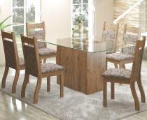 Conjunto De Mesa Para Sala De Jantar Ambar Com Vidro 6 Cadeiras Jady Ébano/Mocaccino - At house