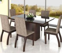 Conjunto De Mesa Para Sala De Jantar Anna Com Vidro Preto 6 Cadeiras Nogueira/Dakota - At house