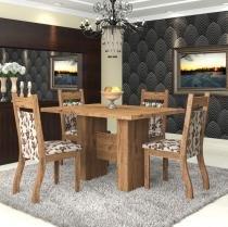 Conjunto De Mesa Para Sala De Jantar Bari 4 Cadeiras Jady Ebano/Brownie - At House