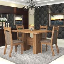 Conjunto De Mesa Para Sala De Jantar Bari 4 Cadeiras Jady Ebano/Dakota - At House