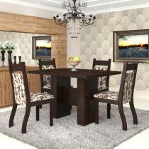 Conjunto De Mesa Para Sala De Jantar Bari 4 Cadeiras Jady Nogueira/Brownie - At House