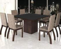 Conjunto De Mesa Para Sala De Jantar Bia Com Vidro Preto e 8 Cadeiras Nogueira/Dakota - At house