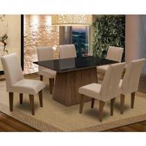 Conjunto de Mesa Para Sala de Jantar C/ Tampo de Vidro e 6 CadeirasFlorença  Dobuê - Dobue