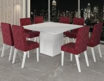 Conjunto De Mesa Para Sala De Jantar City Vidro Branco Com 8 Cadeiras Branco/Antúrio - At house
