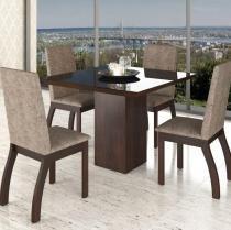 Conjunto De Mesa Para Sala De Jantar Deby Com Vidro Preto e 4 Cadeiras Nogueira/Dakota - At house