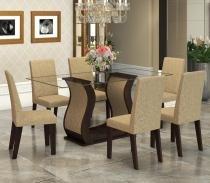 Conjunto De Mesa Para Sala De Jantar Detalhes Com Vidro 6 Cadeiras Nogueira/Gold - At House