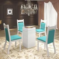 Conjunto De Mesa Para Sala De Jantar Dubai Com 4 Cadeiras Jady Branco/Turquesa - At house