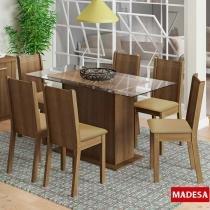 Conjunto de Mesa Para Sala de Jantar e 6 Cadeiras Lídia - Madesa -