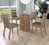 Conjunto De Mesa Para Sala De Jantar Ecco Com Vidro 4 Cadeiras Jady Ébano/Dakota - At House