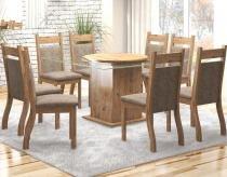 Conjunto De Mesa Para Sala De Jantar Genebra Com 8 Cadeiras Jady Ebano/Dakota - At house