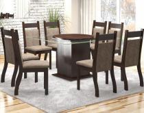 Conjunto De Mesa Para Sala De Jantar Genebra Com 8 Cadeiras Jady Nogueira/Dakota - At house