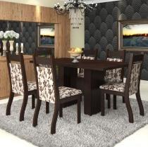 Conjunto De Mesa Para Sala De Jantar Havana 6 Cadeiras Jady Nogueira/Brownie - At House
