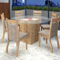 Conjunto De Mesa Para Sala De Jantar Lisboa Com Vidro e 6 Cadeiras Jady Ebano/Dakota - At House