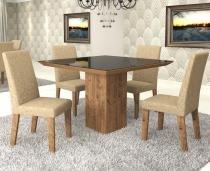 Conjunto De Mesa Para Sala De Jantar Luna Vidro Preto 4 Cadeiras Venus Ebano/Gold - At house