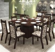 Conjunto De Mesa Para Sala De Jantar Olinda Com 8 Cadeiras Jady Nogueira/Brownie - At house